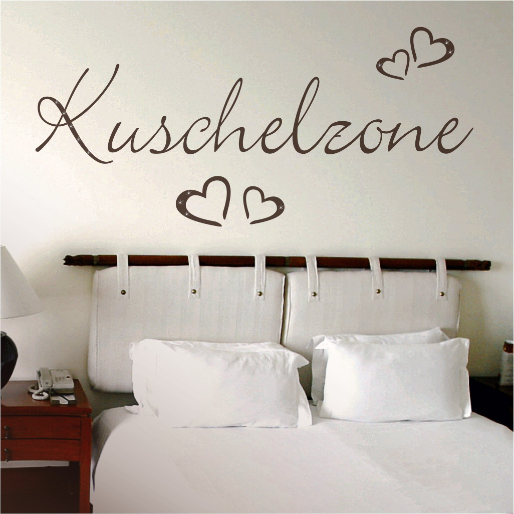 wandtattoo spruch wandworte kuschelzone mit 4 herzen. Black Bedroom Furniture Sets. Home Design Ideas