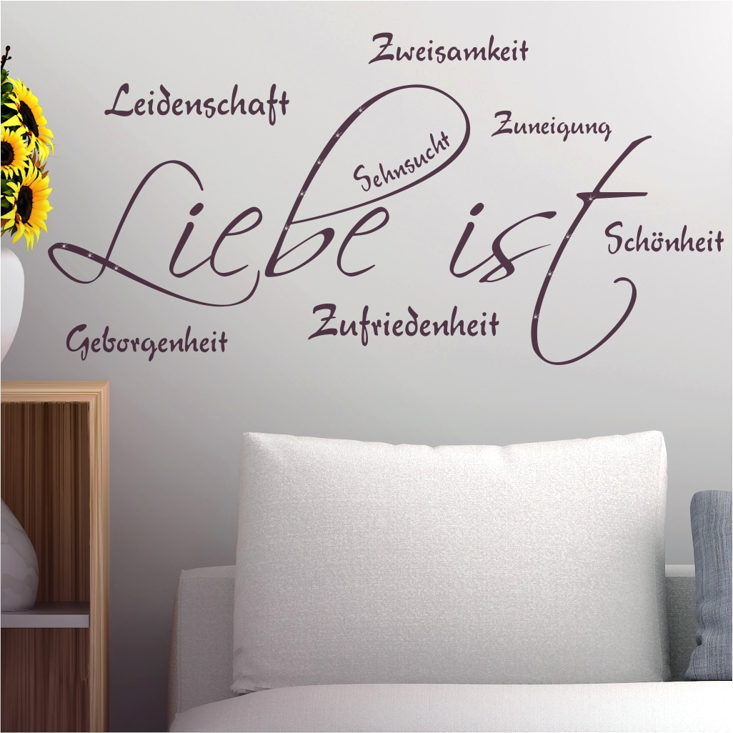 wandtattoo spruch wandworte liebe ist leidenschaft. Black Bedroom Furniture Sets. Home Design Ideas