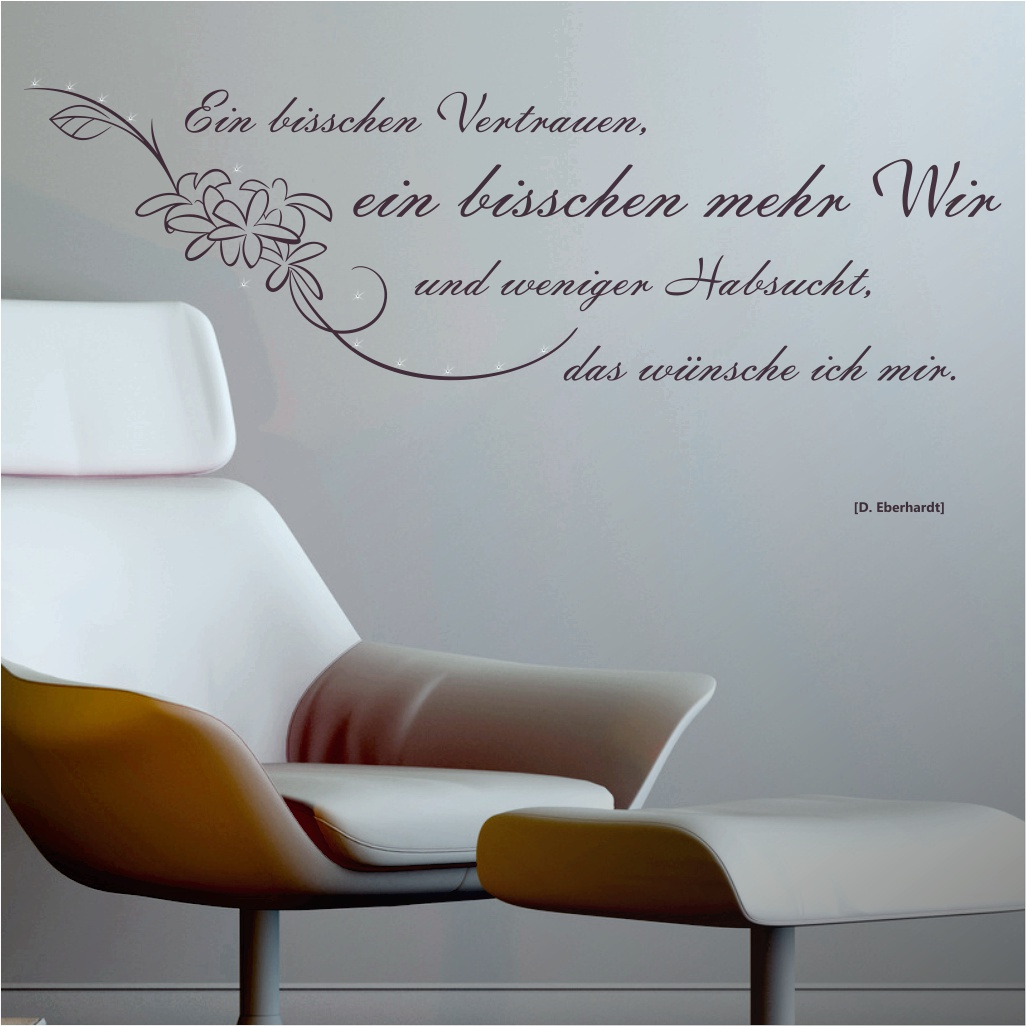 wandtattoo spruch zitat ein bisschen vertrauen. Black Bedroom Furniture Sets. Home Design Ideas