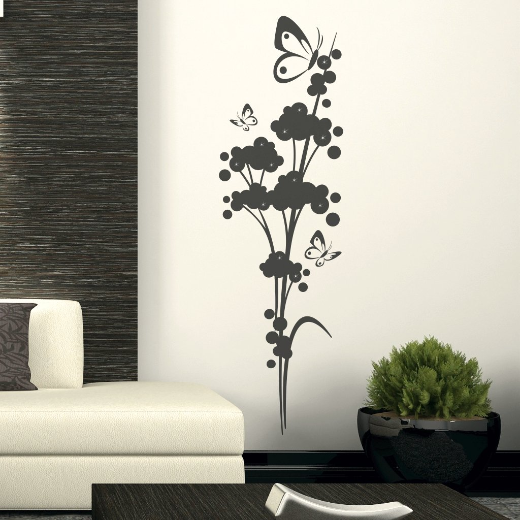 pflanzen wandtattoo wolkenflower mit schmetterlinge. Black Bedroom Furniture Sets. Home Design Ideas