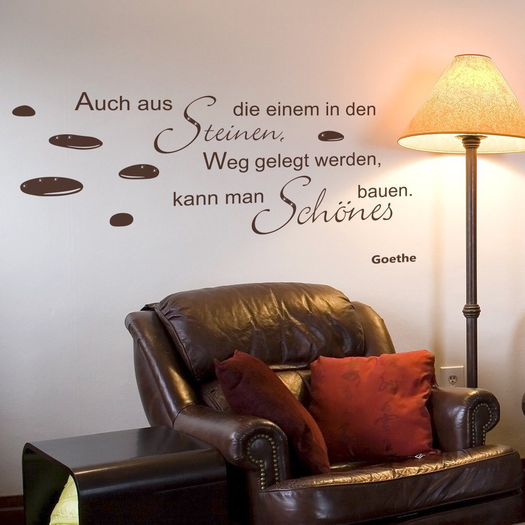wandtattoo zitat spruch auch aus steinen goethe. Black Bedroom Furniture Sets. Home Design Ideas